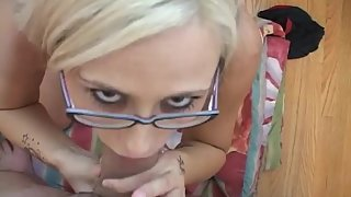 Blonde Giving Blowjob to Meaty Cock of Boyfriend