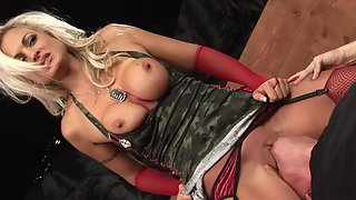 Good looking blonde in lingerie gets eaten out and pounded