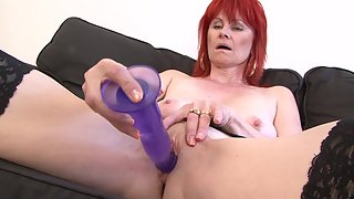 Redhead granny had to prepare her pussy well for a black dick