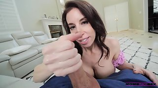 Gorgeous stepmother with huge boobs loves riding stepson's big cock