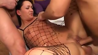 Raven haired babe gets her round butt covered with jizz after gangbang