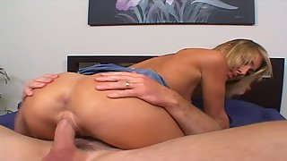 Blonde babe gets nailed in various poses until taking cum in mouth