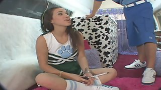Young cheerleader tasting jizz after banged in ice cream truck