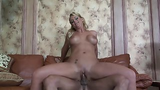 Nasty blonde with big boobs gets mouth jizzed after getting plowed