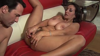 Voluptuous brunette MILF mouth jizzed and fucked by lover
