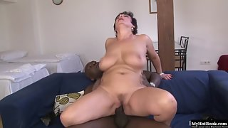 Naughty Brunette Granny Gives Boobjob and Blowjob to Black Wang