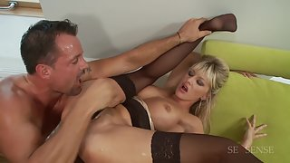 Horny blonde in black stockings gets railed deep in her pussy
