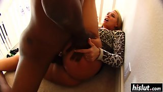Big ass blonde bitch cheats on her husband with a black guy