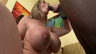 Busty Sara Jay and her enormous tits take on a BBC