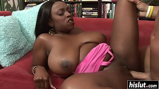 Hot black girl with enormous breasts takes a white dick