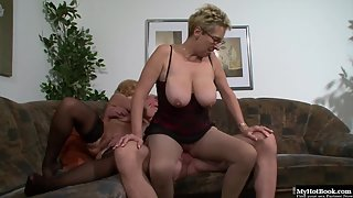 Two Mature Ladies Crazily Enjoying Threesome Sex with Old Dude