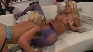 Two busty blondes get smashed by the same cock
