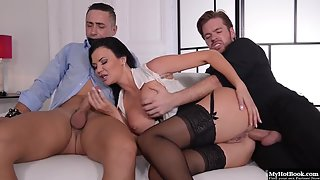Stockings Wearing Slut Jasmine Jae with Stimulation Gets Spit Roasted