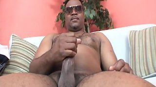 Naughty Man Jerking His Massive Dick on Couch