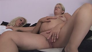 Hot lesbian sex with a pregnant babe