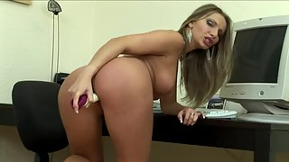 Gorgeous babe uses a sex toy to please her wet pussy