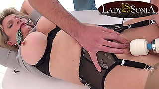 British Lady Sonia is tied up and played with
