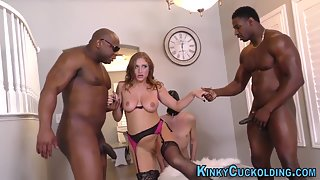 Beautiful Mistress Getting Fucked by Male Slaves in Room