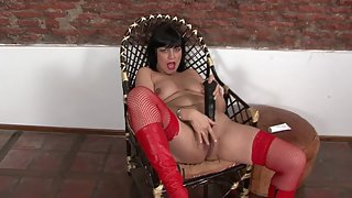 Chubby mature in fishnets solo masturbates with her dildo