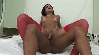 Amazing shemale in red stockings enjoys anal sex