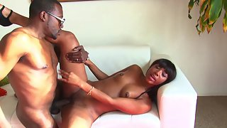 Petite ebony girl rides massive black cock after taking a shower