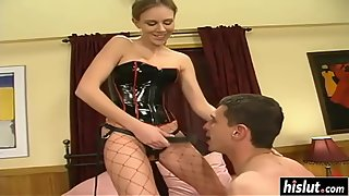 Audrey Leigh puts a strap-on on and fucks her kinky man