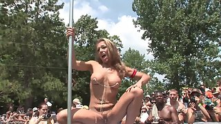 Blonde babes dancing naked in front of public