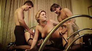 Slutty chicks in lingerie gets fucked hard and rough in foursome