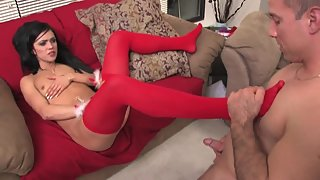 Skinny babe in red stockings gets fucked hard
