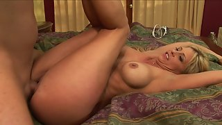 Horny blonde gives awesome blowjob and gets nailed