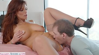 Horny mature stepmother in stockings get plowed after sucking a cock