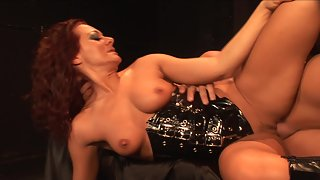 Curly haired redhead gets banged by lucky bald guy