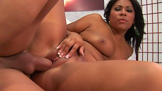 Big booty Latina beauty takes facial after stuffed with stiff cock