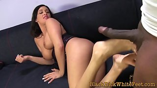 Brunette with sexy feet gives hot footjob