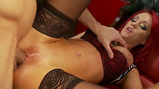 Amazing redhead babe in stockings and lingerie gets fucked