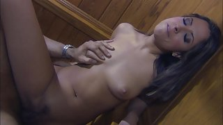 Skinny girl gets fucked on the stairs
