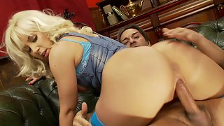 Big ass blonde gets her pussy slammed by a fat cock