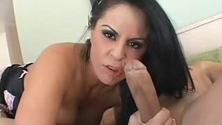 Glamorous MILF with big tits taking cum in her mouth after getting pounded