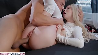 Slutty blonde stepdaughter offers daddy her tight shaved pussy