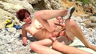 Mature Latina gets her pussy and ass fucked on the beach