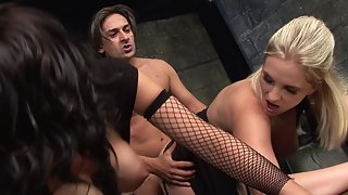 Two attractive sluts get fucked by a horny guy