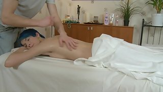 Skinny girl with short blue hair gets fucked by a naughty masseur