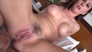 Brunette milf in a hotel room having sex