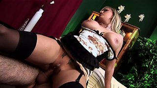 Busty blonde in stockings gets banged after fingering herself