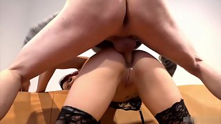 Stocking Lady Riding Over Dick by Taking Inside Asshole