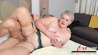Chubby short haired mature gets banged hard after work
