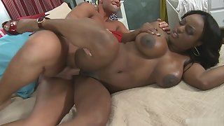 Busty Ebony Doing Sex with White Dude for Interracial Orgasm