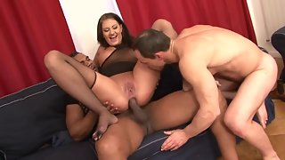 Busty brunette chick satisfied by two horny dudes