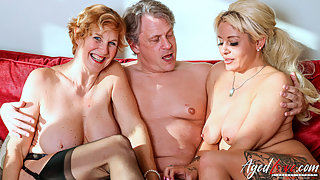 Two mature ladies fuck and suck the same hard cock in threesome