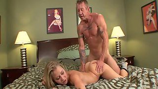 Horny blonde in stockings with small knockers gets her wet pussy drilled